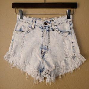 Vibrant M.I.U. High Rise Distressed Frayed Shorts
